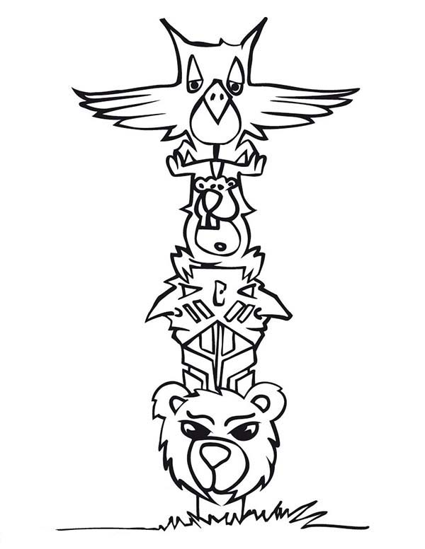Totem Poles, : Cartoon of Animal Totem Poles Coloring Page