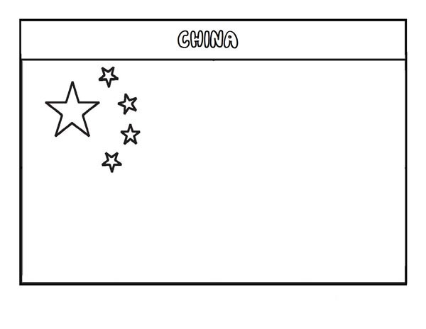 Nation Flag, : China Nation Flag Coloring Page