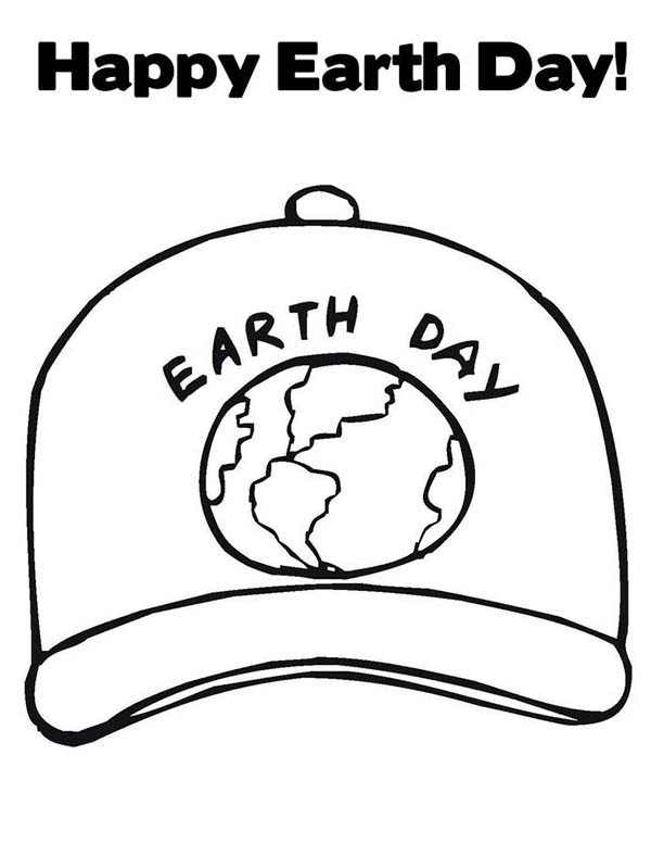Earth Day, : Earth Day Campaign Cap Coloring Page