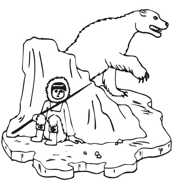 Polar Bear, : Eskimo Hunter and Polar Bear Coloring Page