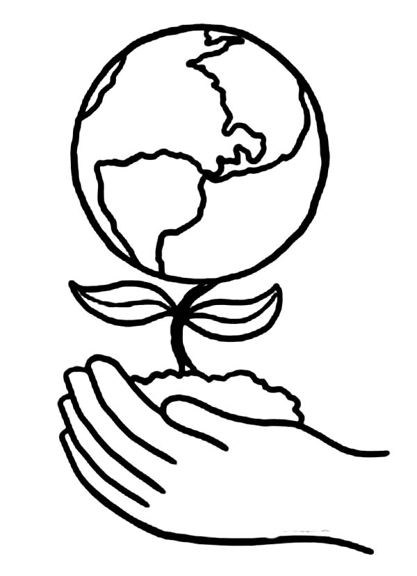Earth Day, : Planting a Healthier Earth on Earth Day Coloring Page