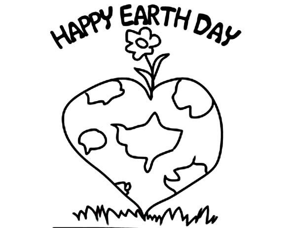 Earth Day, : Planting a Lovely and Healthy Planet on Earth Day Coloring Page
