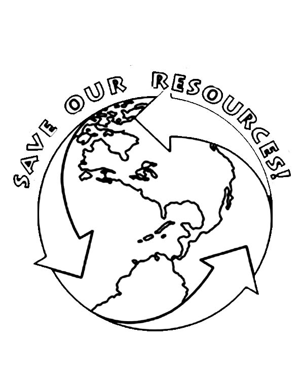 Earth Day, : Save Our Resources on Earth Day Coloring Page