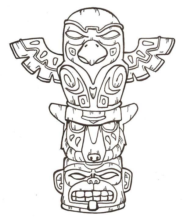 Totem Poles, : Terrifying Totem Poles Coloring Page