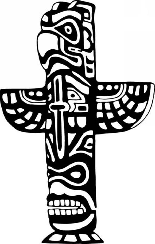 Totem Poles Tribal Nation Symbols Coloring Page Kids