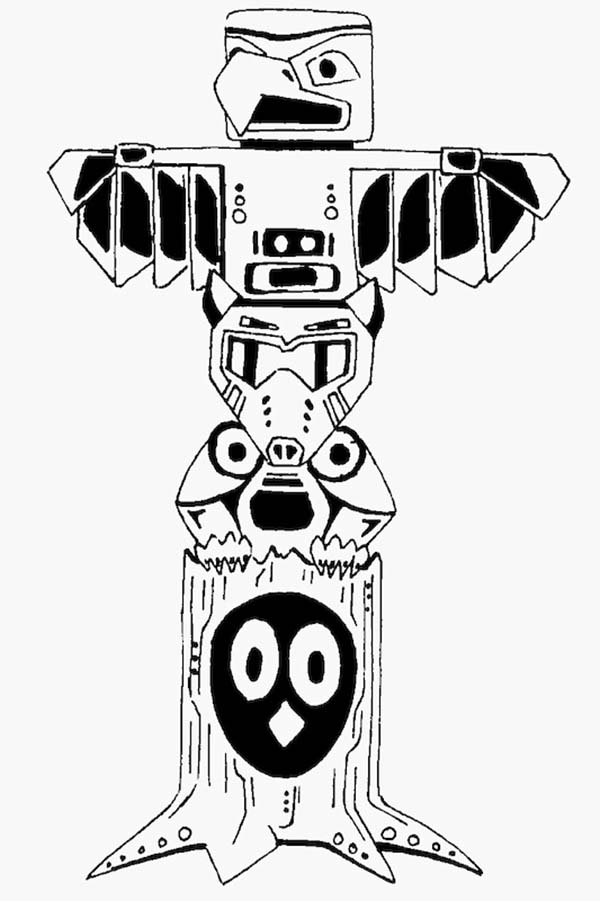 Totem Poles, : Totem Poles Vector Coloring Page