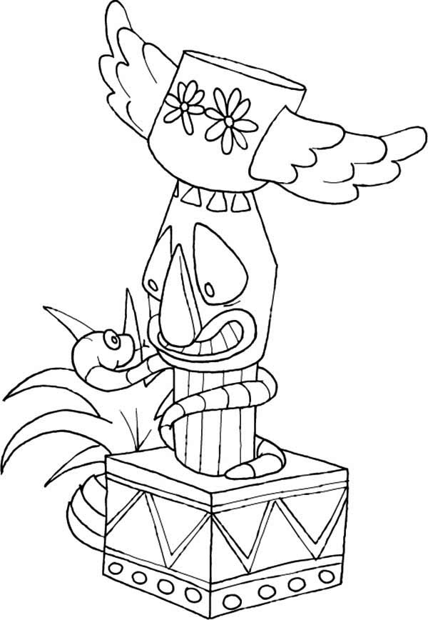 Totem Poles, : Totem Poles Wrapped by Snake Coloring Page
