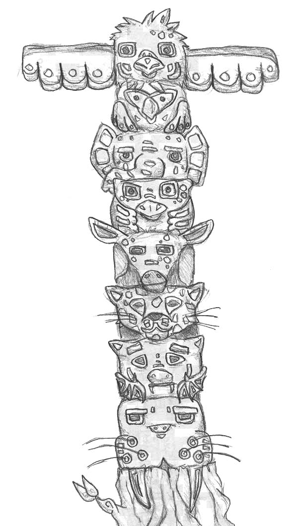 Totem Poles, : Totem Poles from Giant Cedar Tree Coloring Page