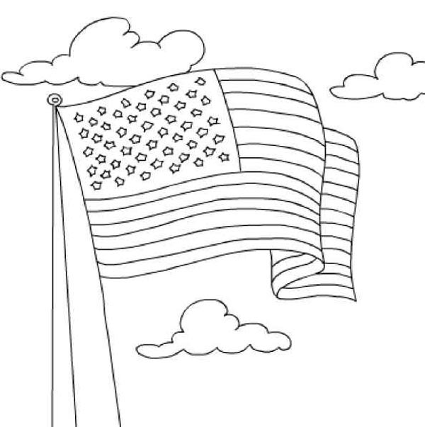 Nation Flag, : United State Nation Flag Coloring Page