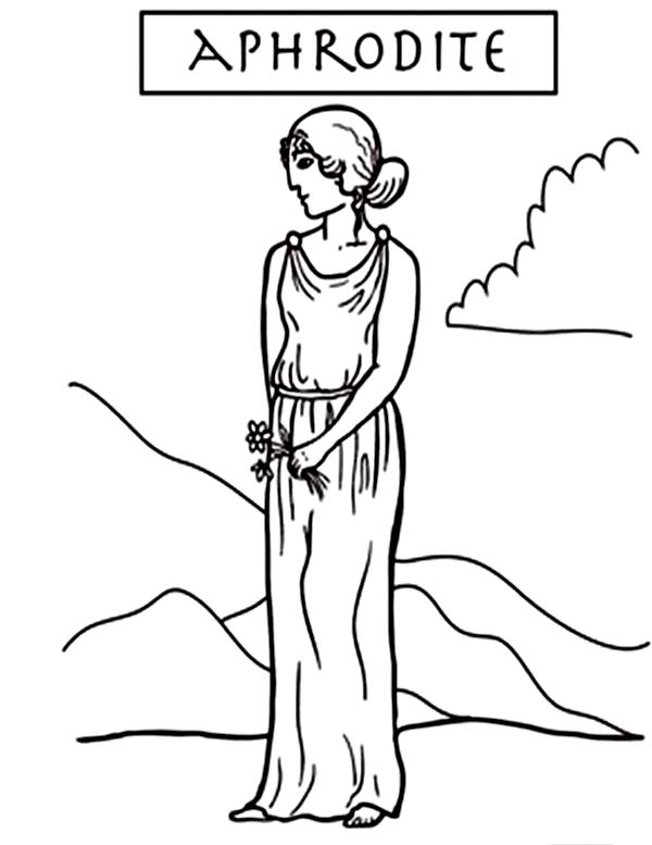 Aphrodite, : A is for Aphrodite Coloring Page