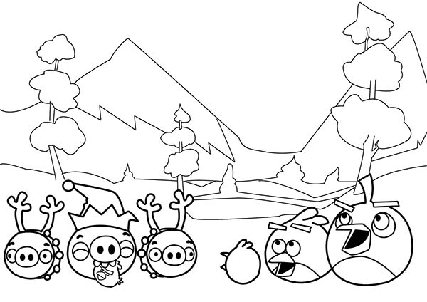 Angry Birds, : All Happy Face in Angry Bird Coloring Page