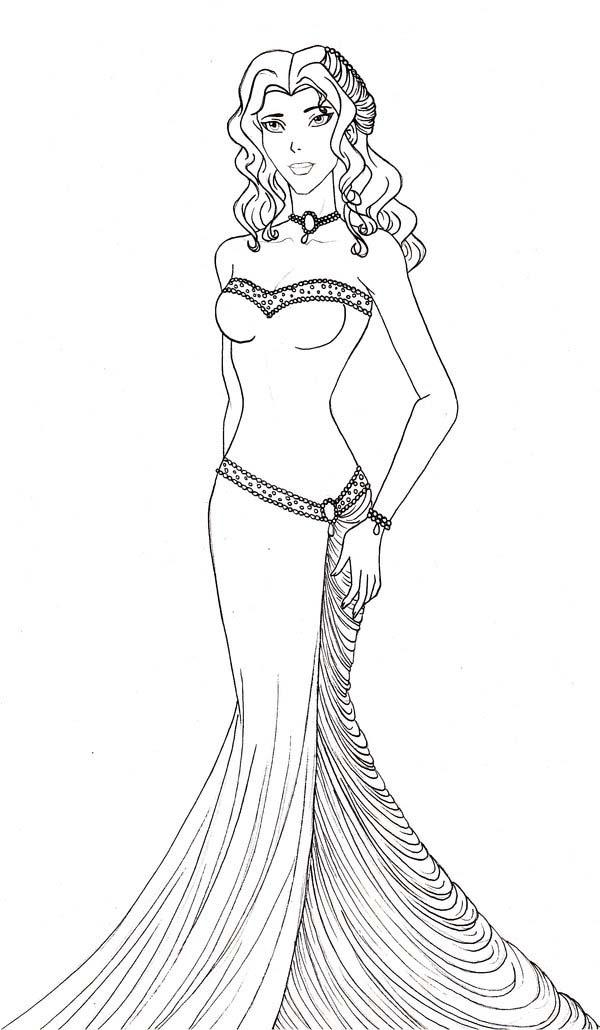 Aphrodite, : Aphrodite Wearing Beautiful Gown Coloring Page