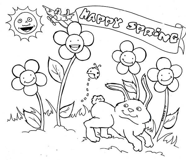 Spring, : April Month for Spring Coloring Page