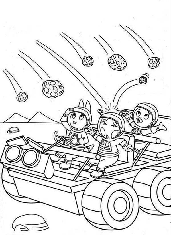 The Backyardigans, : Austin and Pablo and Uniqua Hit by Meteor in the Backyardigans Coloring Page