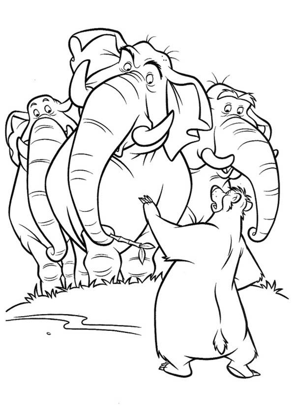 The Jungle Book, : Baloo Talking to Colonel Hathi and Jungle Patrol in the Jungle Book Coloring Page