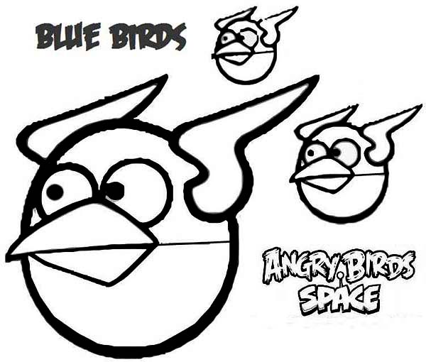 Angry Birds, : Blue Bird in Angry Bird Space Coloring Page
