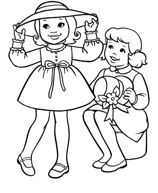 Spring, : Buying Pretty Hat at Spring Coloring Page