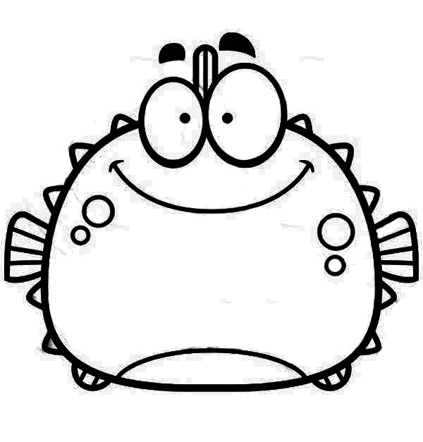 Puffer Fish, : Chubby Smiling Blowfish Puffer Fish Coloring Page