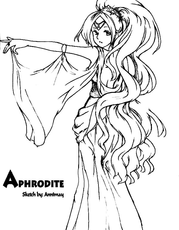 Aphrodite, : Drawing Aphrodite Coloring Page