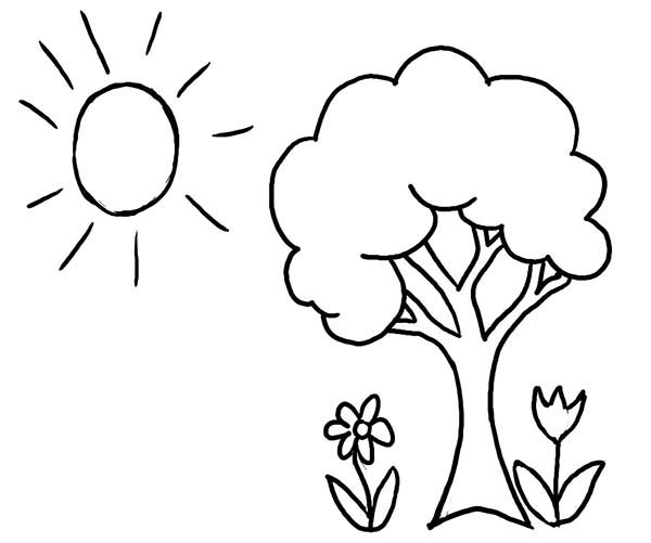 Spring, : Drawing Spring Season Coloring Page