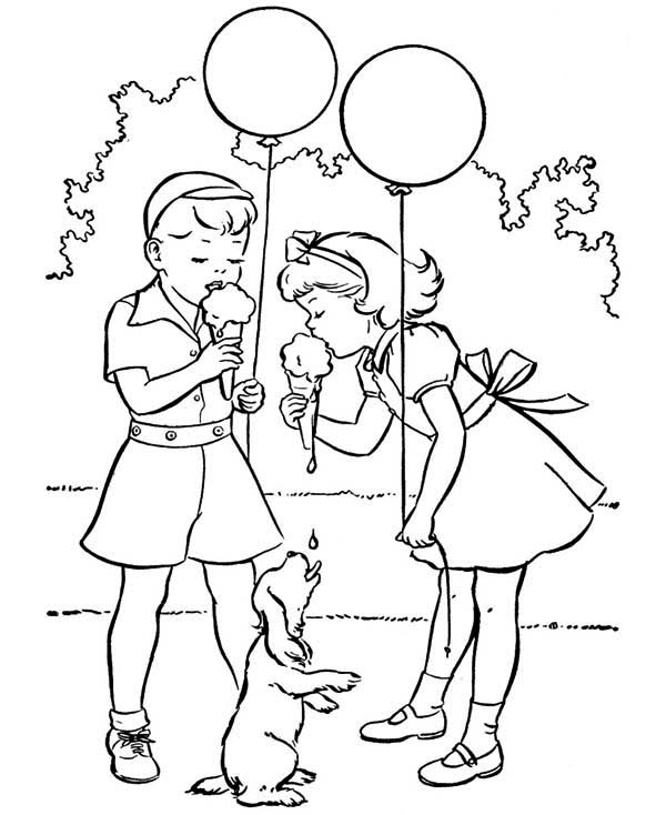 Spring, : Eat Delicious Ice Cream in Spring Coloring Page
