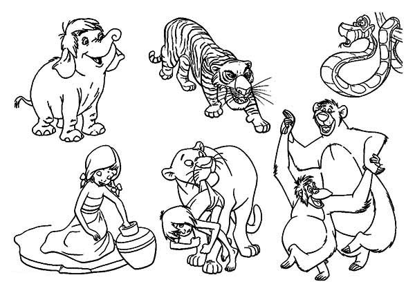 The Jungle Book, : Famous Characters of Walt-Disney The Jungle Book Coloring Page