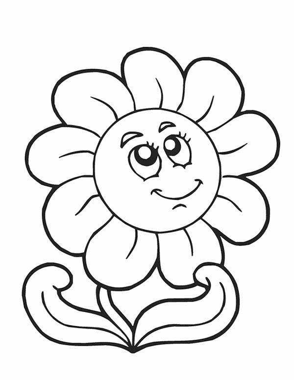 Spring, : Flower Smiling in Spring Time Coloring Page