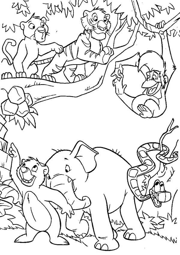 The Jungle Book, : Happy All Jungle Residents in the Jungle Book Coloring Page