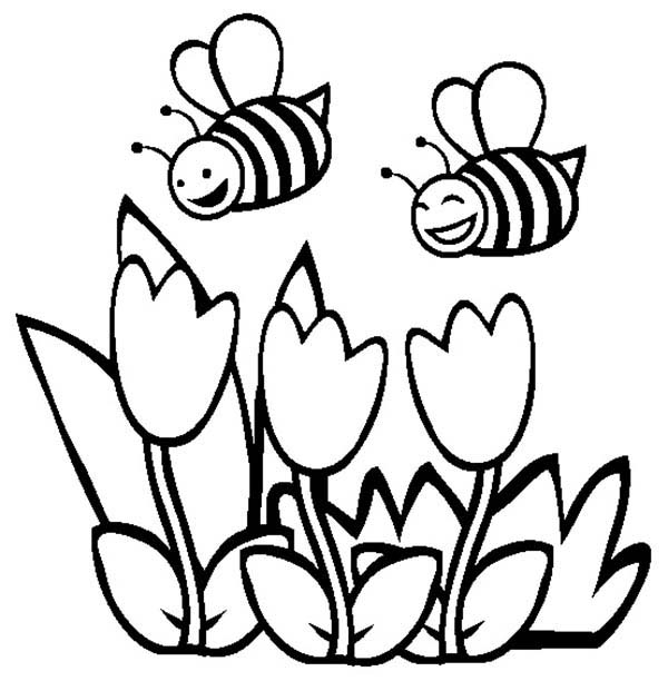 Spring, : Happy Bees and Spring Flower Coloring Page