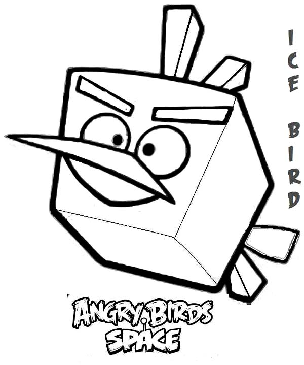 Angry Birds, : Ice Bird in Angry Bird Space Coloring Page