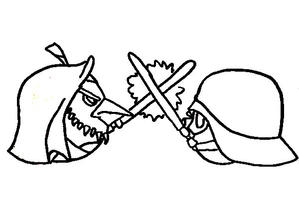 Angry Birds, : Mace Windu versus Darth Vader in Angry Bird Star Wars Coloring Page