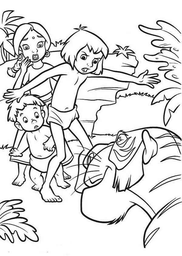 The Jungle Book, : Mowgli Defending Shanti and Ranjan from Shere Khan in the Jungle Book Coloring Page