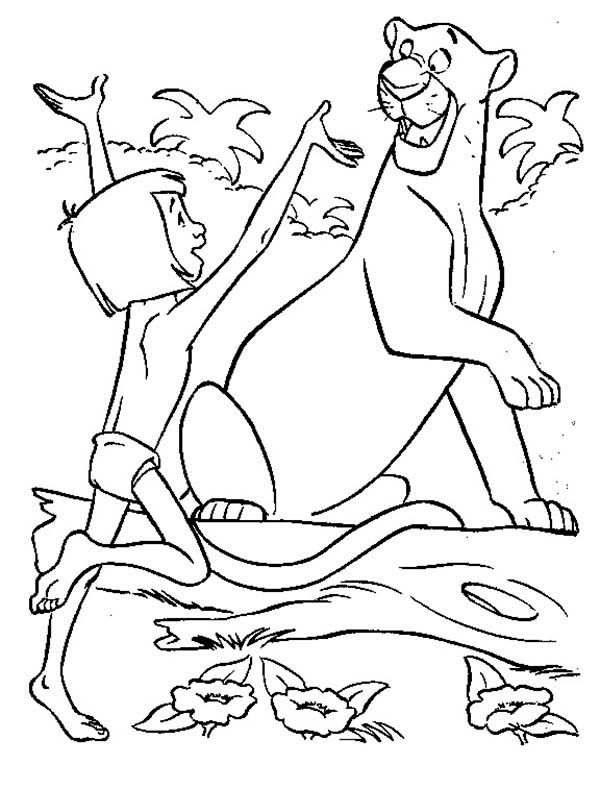 The Jungle Book, : Mowgli is Happy Meet Bagheera in the Jungle Book Coloring Page