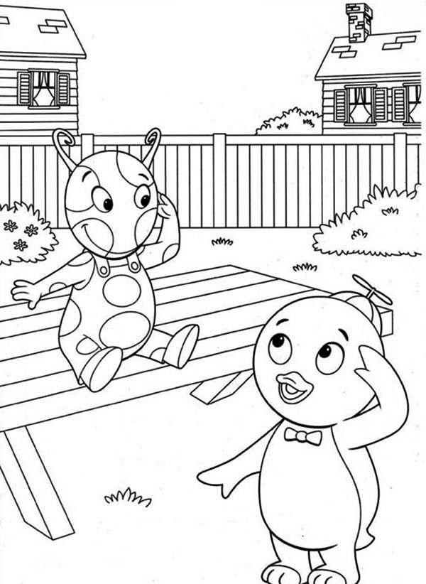 The Backyardigans, : Pablo is Happy Meet Uniqua in the Backyardigans Coloring Page