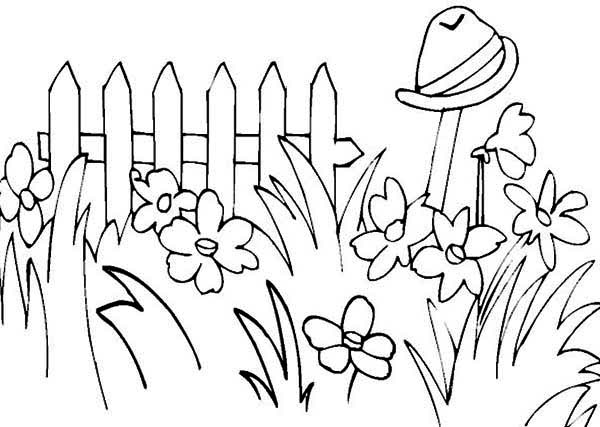Spring, : Picture of Garden on Spring Coloring Page