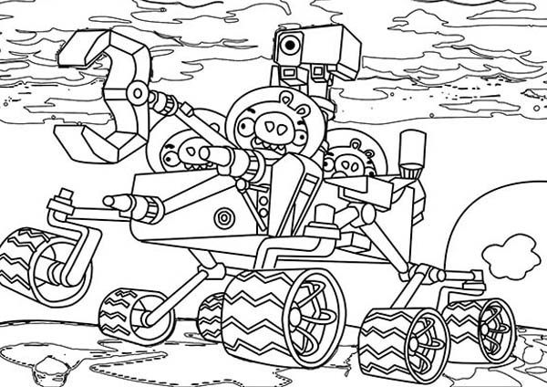 Angry Birds, : Pig Ride a Robot in Angry Bird Space Coloring Page