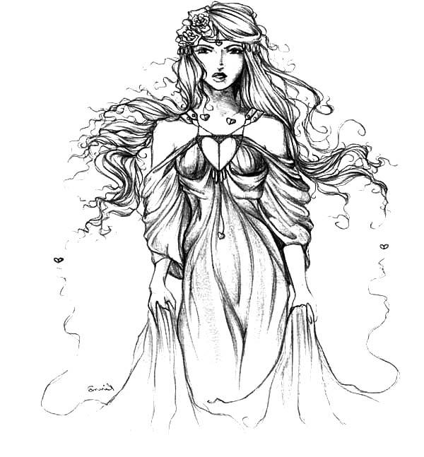Aphrodite, : SciFi Fantasy Aphrodite Coloring Page