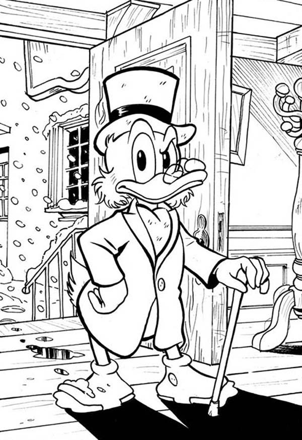 Scrooge Mcduck, : Scrooge Mcduck Not in Good Mood Coloring Page