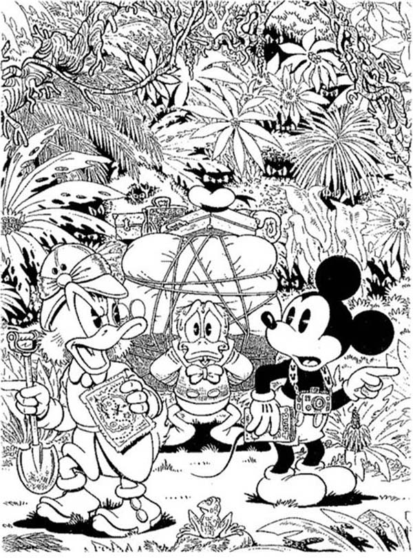 Scrooge Mcduck, : Scrooge Mcduck and Donald and Mickey Hunt for Treasure Coloring Page