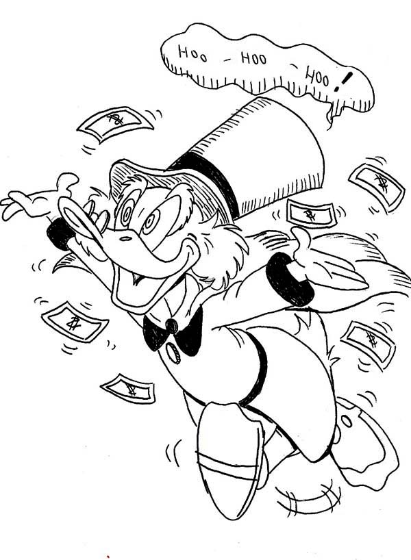 Scrooge Mcduck, : Scrooge Mcduck is Getting Crazy Coloring Page