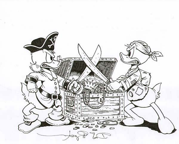 Scrooge Mcduck, : Scrooge Mcduck versus Donald Duck They Fight for Pirate Treasure Coloring Page