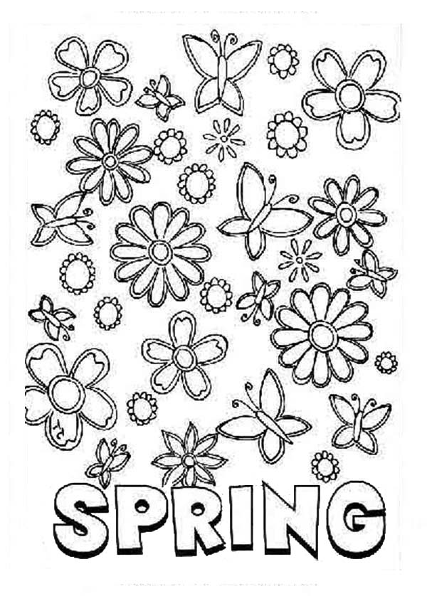 Spring, : Spring All Around Us Coloring Page