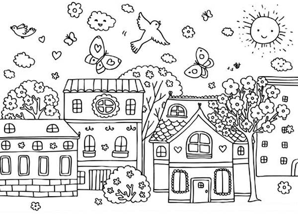 Spring, : Spring Season at Village Coloring Page