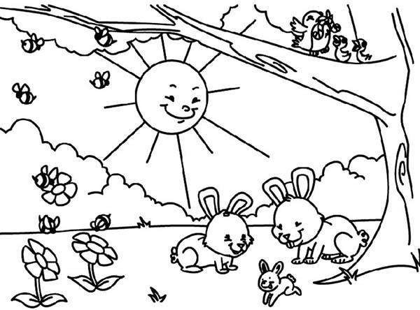 Spring, : Sun Shine Bright in Spring Coloring Page