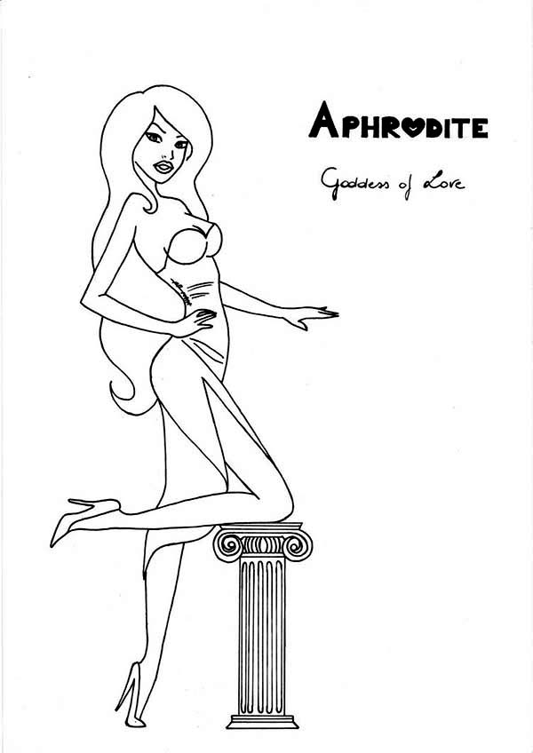 Aphrodite, : The Goddess of Love Aphrodite Coloring Page