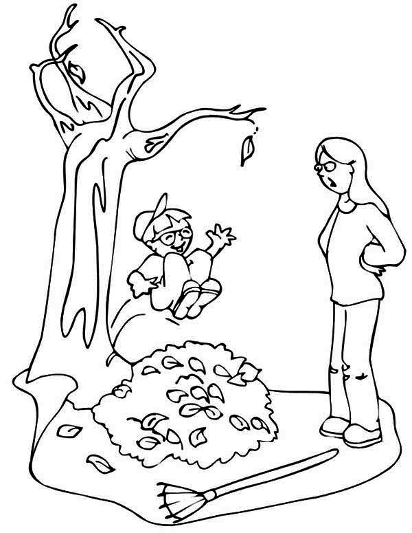 Autumn, : Kid Jumping to Pile of Autumn Leaf Coloring Page