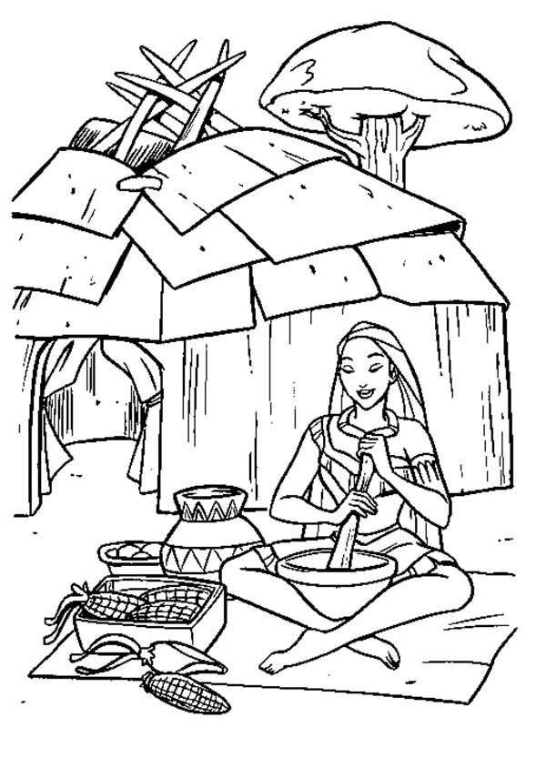 Native American Day, : Native American Girl Cooking Tamales on Native American Day Coloring Page
