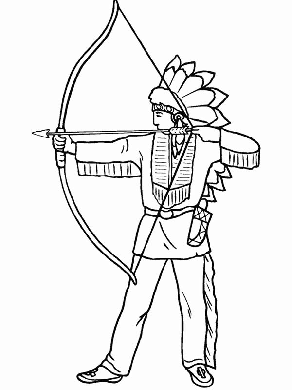 Native American Day, : Native American is Firing Shortbow on Native American Day Coloring Page