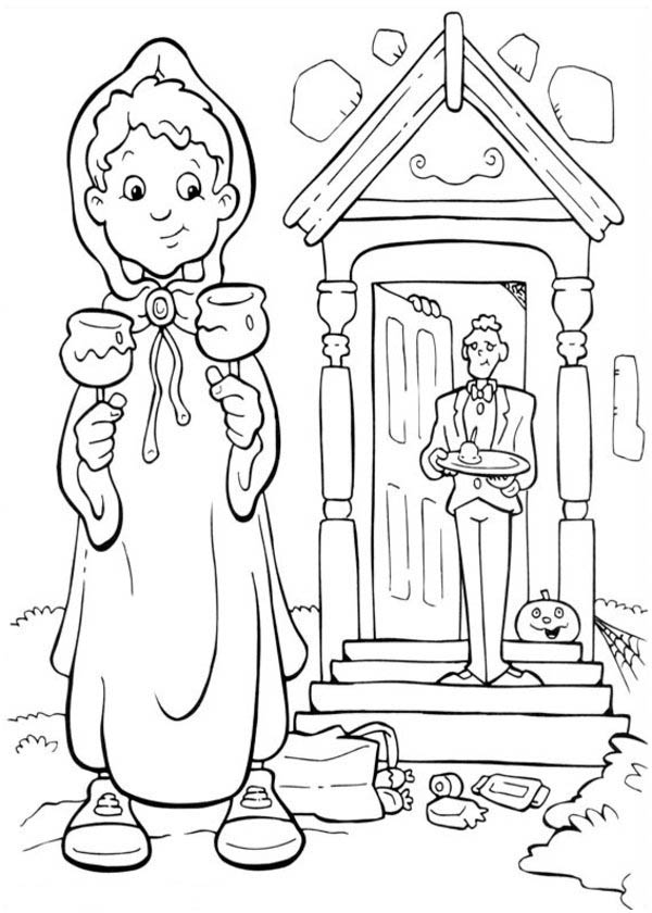 Halloween Day, : A Boy Got Candy Treats from Mr Frankenstein on Halloween Day Coloring Page