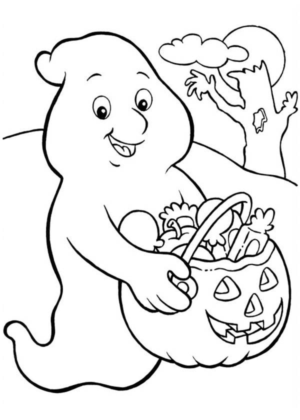 Halloween Day, : A White Ghost Who Love Candy Treats so Much on Halloween Day Coloring Page
